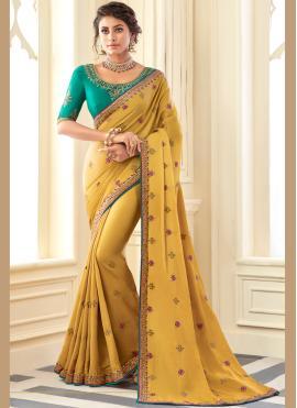 Mustard Silk Zari Classic Designer Saree