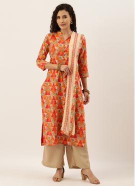 Mystic Blended Cotton Orange Printed Palazzo Salwar Suit