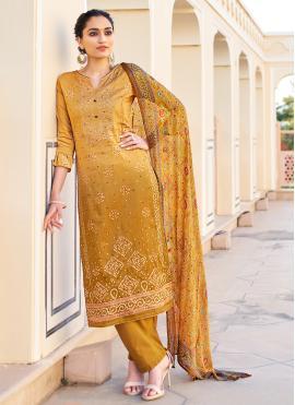 Mystic Fancy Fabric Mustard Designer Palazzo Suit