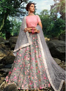 Mystic Net Grey Sequins Trendy Designer Lehenga Choli