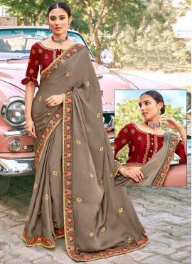 Mystic Patch Border Brown Classic Designer Saree