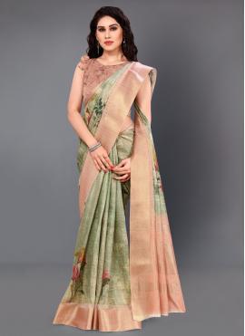 Mystic Silk Digital Print Classic Saree