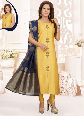 Mystic Silk Yellow Churidar Salwar Kameez