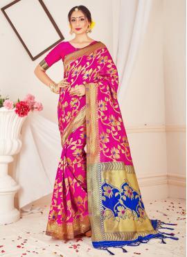 Mystical Pink Weaving Classic Designer Saree