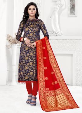 Navy Blue Banarasi Silk Churidar Designer Suit