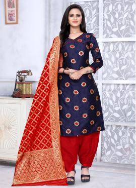 Navy Blue Banarasi Silk Weaving Punjabi Suit