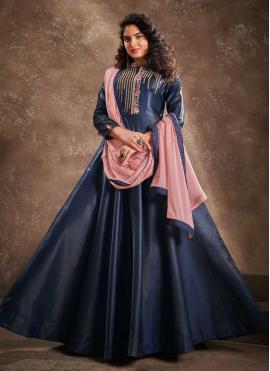 Navy Blue Ceremonial Readymade Anarkali Suit
