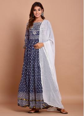 Navy Blue Color Designer Gown