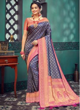 Navy Blue Color Designer Traditional Saree