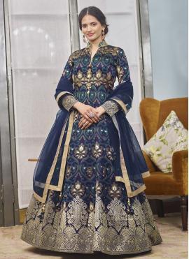 Navy Blue Color Readymade Anarkali Salwar Suit