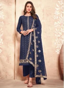 Navy Blue Embroidered Designer Pakistani Suit