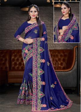 Navy Blue Festival Silk Designer Saree