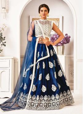 Navy Blue Lace Net Lehenga Choli