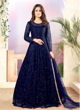 Navy Blue Net Ceremonial Floor Length Anarkali Salwar Suit