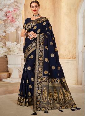 Navy Blue Silk Traditional Designer Saree
