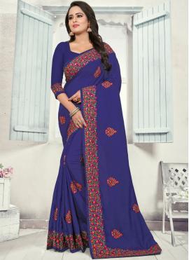 Navy Blue Silk Traditional Saree