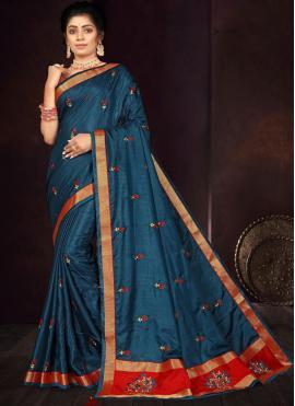 Navy Blue Vichitra Silk Embroidered Traditional Saree