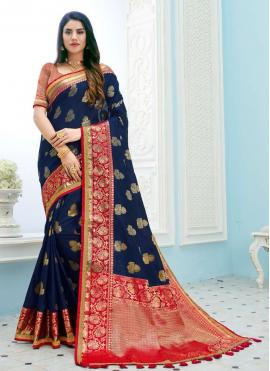 Navy Blue Weaving Art Silk Contemporary Saree