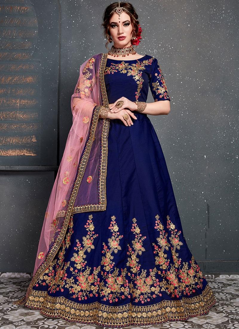 Navy Blue Wedding Designer Lehenga Choli