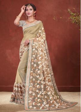 Net Beige Embroidered Classic Designer Saree