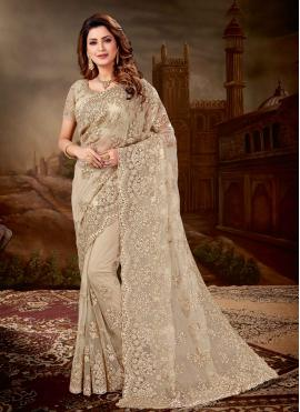 Net Beige Embroidered Traditional Saree