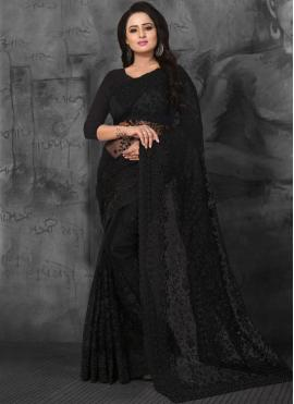 Net Black Embroidered Designer Saree