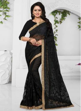 Net Black Patch Border Classic Designer Saree