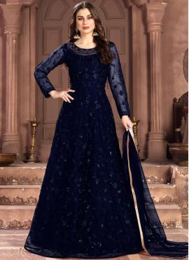 Net Blue Anarkali Salwar Suit