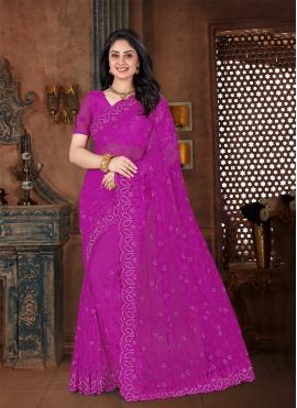 Net Contemporary Saree in Purple