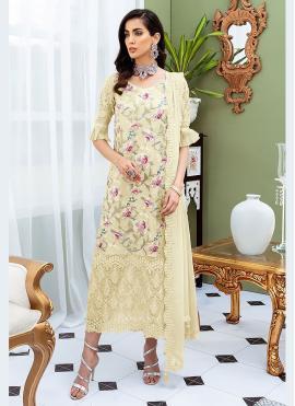 Net Cream Designer Straight Salwar Kameez
