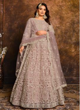 Net Designer Floor Length Salwar Suit in Lavender