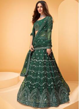 Net Designer Lehenga Choli in Green
