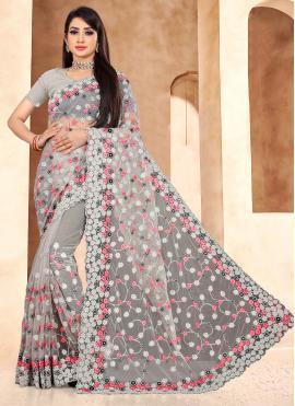 Net Designer Saree in Grey