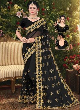 Net Embroidered Black Trendy Saree