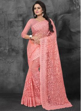 Net Embroidered Classic Saree in Pink