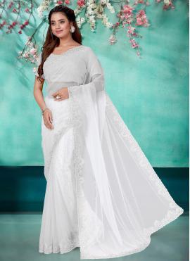 Net Embroidered Off White Classic Designer Saree
