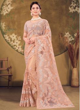 Net Embroidered Peach Designer Saree