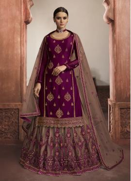 Net Embroidered Trendy Lehenga Choli in Purple