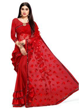 Net Fancy Red Designer Half N Half Saree