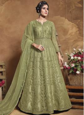 Net Floor Length Anarkali Suit in Green