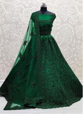 Net Green Diamond Lehenga Choli