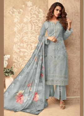 Net Grey Embroidered Designer Palazzo Suit