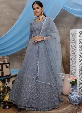 Net Grey Embroidered Trendy A Line Lehenga Choli