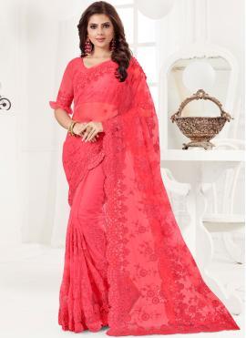 Net Hot Pink Resham Traditional Designer Saree