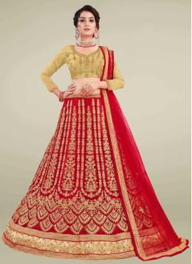 Net Lace Red Lehenga Choli