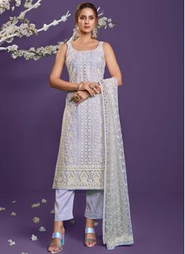 Net Lavender Sequins Designer Straight Suit