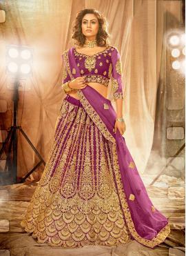 Net Lehenga Choli in Purple