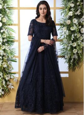 Net Navy Blue Thread Work Designer Gown