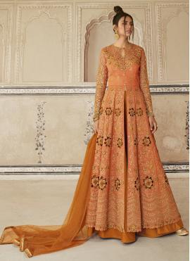 Net Orange Designer Long Lehenga Choli