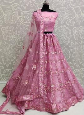 Net Patch Border Pink Lehenga Choli